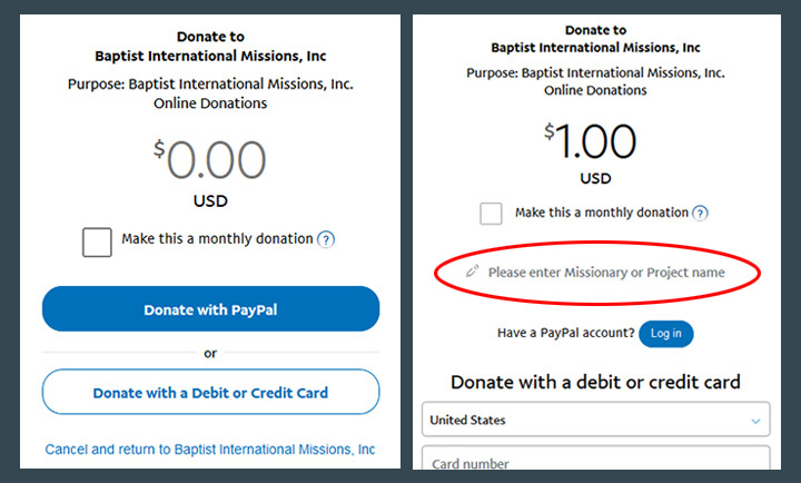 Donate: Sample HTML button code